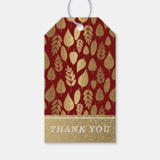 Gold und rotes Blatt-Muster Geschenkanhänger