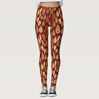 Gold und rotes Blatt-Muster Leggings