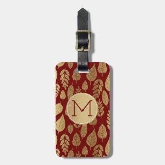 Gold und rotes Blatt-Muster u. Monogramm Gepäckanhänger