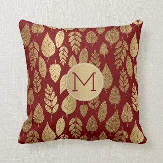 Gold und rotes Blatt-Muster u. Monogramm Kissen
