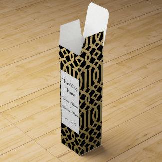 Gold-und Schwarz-modernes Gitter-Muster Weinbox