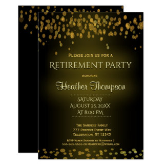 Gold und schwarze Confetti-Blasen 12,7 X 17,8 Cm Einladungskarte