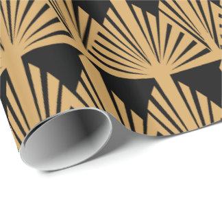 Gold und schwarze Kunst-Deko-Muster Geschenkpapier