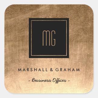Gold und schwarze Monogramm-Geschäfts-Aufkleber Quadratischer Aufkleber