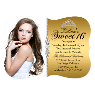 Gold und schwarzer Geburtstag Prinzessin-Tiara 12,7 X 17,8 Cm Einladungskarte