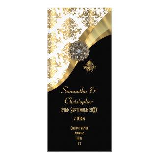 Gold und schwarzes Damastkirchenhochzeitsprogramm Werbekarte