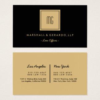Gold-und schwarzes Monogramm-berufliche Büros Visitenkarte