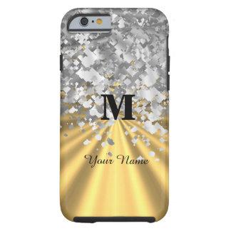 Gold- und Silber-Glitter mit Monogramm Tough iPhone 6 Hülle