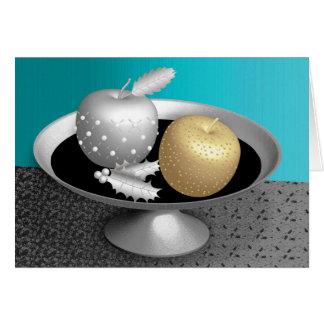 Gold- und Silberäpfel auf einem silbernen Sockel Karte