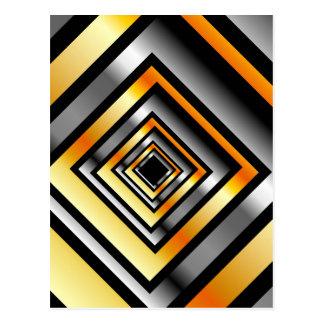 Gold- und Silberquadrate, die Perspektive bilden Postkarte