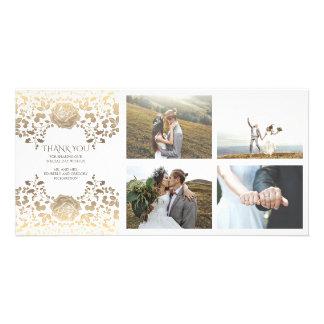 Gold und weiße Blumenhochzeit danken Ihnen Karte