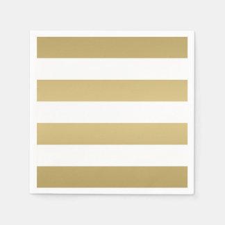 Gold und weiße gestreifte Party-Servietten Serviette