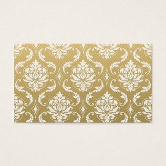 Gold und weißer klassischer Damast Visitenkarte