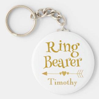 Gold und weißer Ring-Träger Schlüsselanhänger