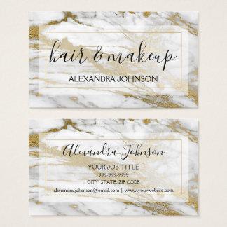 Gold und weißes Marmorhaar und Make-up Visitenkarte