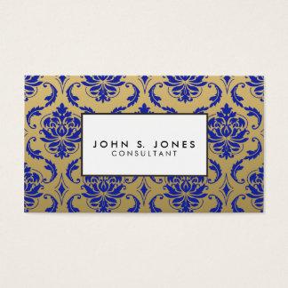 Gold und Zaffre-blauer klassischer Damast Visitenkarte