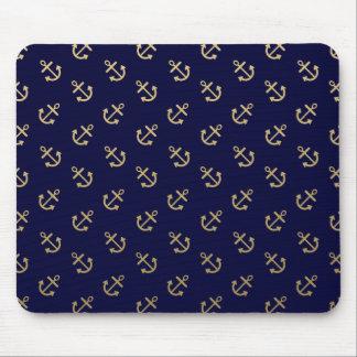 Gold verankert Marine-Blau-Hintergrund-Muster Mauspads