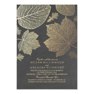 Gold verlässt Vintage rustikale Hochzeit im Herbst Karte