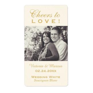 Gold Wedding Photo Wine Bottle Favor Labels Großer Adressaufkleber