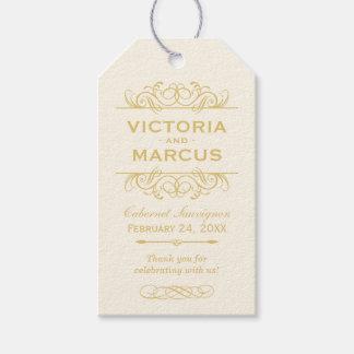 Gold Wedding Wine Bottle Monogram Favor Tags Geschenkanhänger