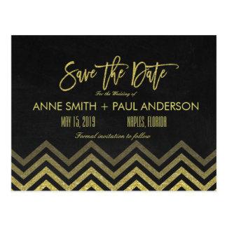 Gold Zickzack und schwarz Save the Date Postkarte