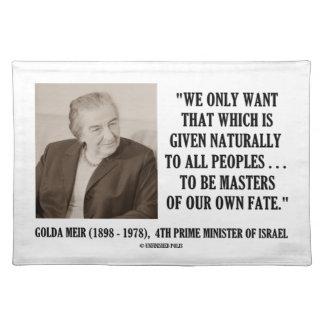 Golda Meir, zum Meister unseres eigenen Tisch Set