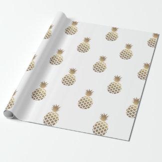 Goldananas-Muster-Packpapier-Weiß Einpackpapier