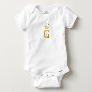 Goldanfangsg-Buchstabe-Monogramm-Baby-Bodysuit Baby Strampler