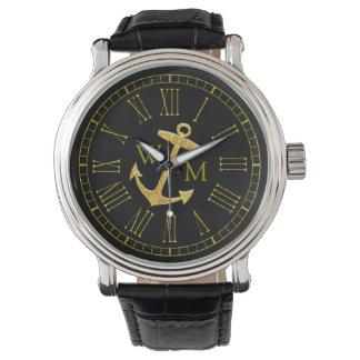 Goldanker-Monogramm, das Ihre Farbe Armbanduhr