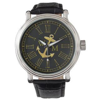 Goldanker-Monogramm, das Ihre Farbe Uhren
