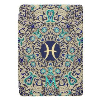Goldaqua-blaue Monogramm-Fisch-Mandala iPad Pro Cover