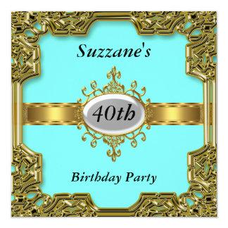 Goldaqua-Geburtstags-Party-Glamour-heiße Einladung