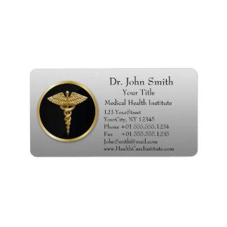 Goldberuflicher medizinischer Caduceus - Adressaufkleber