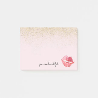 Goldbezaubernder Aquarell-Kuss sind Sie schön Post-it Klebezettel