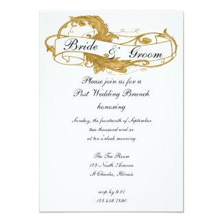 Goldblatt-Posten-Hochzeits-Brunch-Einladung 12,7 X 17,8 Cm Einladungskarte