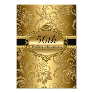 Goldblumen50. Hochzeitstag laden ein Karte