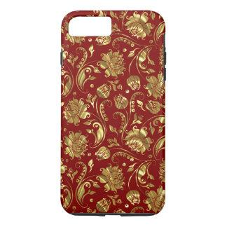 Goldblumendamast-Burgunder-Hintergrund iPhone 8 Plus/7 Plus Hülle