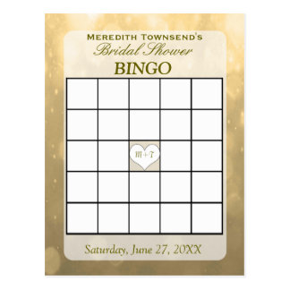 GoldBokeh   Bingo-Karte Postkarte