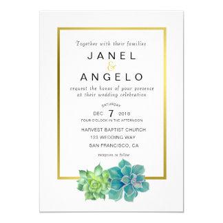 Goldbotanische saftige Hochzeitseinladung Karte