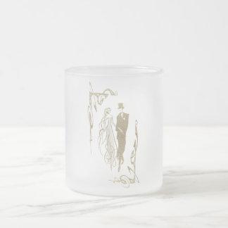 Goldbraut-und -bräutigam-Hochzeits-Kunst Matte Glastasse