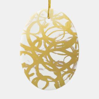 Goldbrushstroke-Aquarell-Kreise Ovales Keramik Ornament