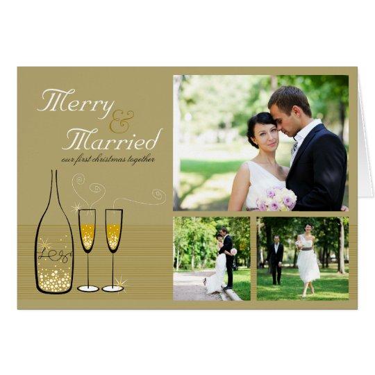 Goldchampagne-Blasen, die Feiertags-Karte Wedding Grußkarte