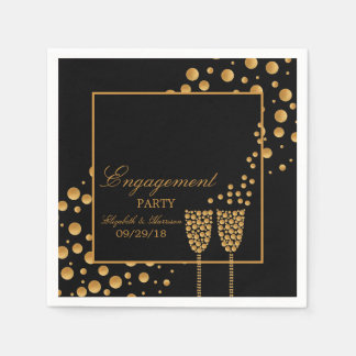 Goldchampagne-Blasen-Verlobungs-Party Papierservietten