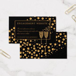 Goldchampagne-Blasen-Verlobungs-Party-Website Visitenkarte