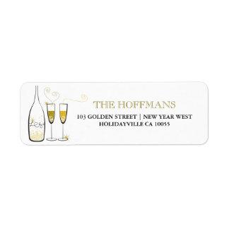Goldchampagne-Neujahrsfeiertag-Adressen-Etiketten