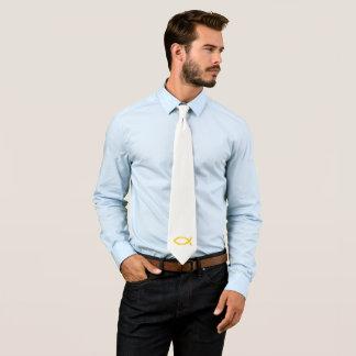 Goldchristliches Fisch-Symbol Bedruckte Krawatte