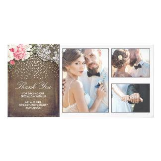 Goldconfetti-Blumenspitze-und Leinwand-Hochzeit Karte