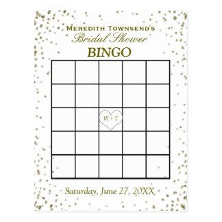 GoldConfetti des Brautparty-Bingo-  Postkarten