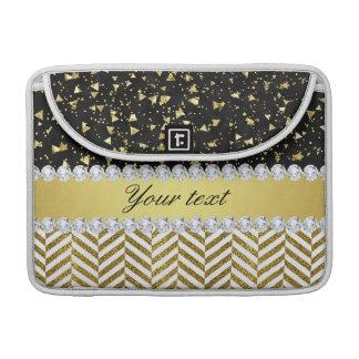 Goldconfetti-Dreieck-Sparren-Diamant Bling Sleeve Für MacBook Pro