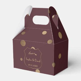Goldconfetti-Liebe-Burgunder-Hochzeit Geschenkschachtel